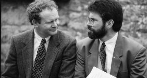 A file image from 1994 of  then Sinn Féin president Gerry Adams (right) and Martin McGuinness.  Photograph: The Irish Times