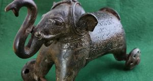 Old pull-along brass elephant toy, €100-€200, Victor Mitchell.