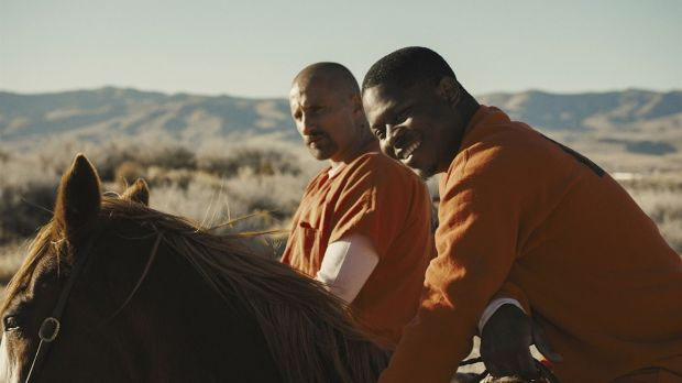 Matthias Schoenaerts and Jason Mitchell in The Mustang