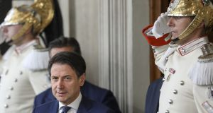 Giuseppe Conte, Italy's premier-designate, arrives to speak during a news conference following a meeting with Italian president Sergio Mattarella at the Quirinale Palace in Rome on Thursday. Photograph: Alessia Pierdomenico/Bloomberg