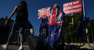 Anti-Brexit demonstrators outside parliament in London on Thursday. Photograph: Daniel Leal-Olivas/AFP/Getty Images