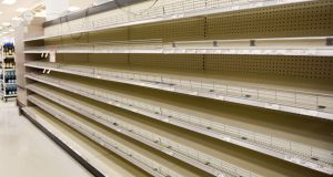 Empty shelves at a Target shop in Hollywood, Florida, as people stock up before the arrival of  Hurricane Dorian. Photograph: Bloomberg