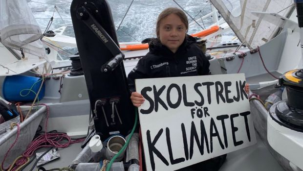 Swedish climate activist Greta Thunberg and a crew consisting of German skipper Boris Herrmann, filmmaker Nathan Grossman, founder of Team Malizia Pierre Casiraghi, and her father Svante Thunberg sailed to the US for the UN Climate Action Summit on the racing boat Malizia II. Photograph: Greta Thunberg/ EPA