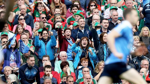 Fans react after Dean Rock scored the winning free kick in the 2017 final against Mayo. Photo: Tommy Dickson/Inpho