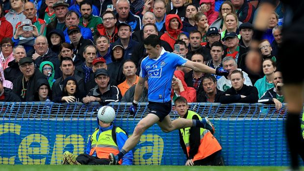 Diarmuid Connolly misses with a late free during the 2016 final against Mayo. Photo: Donall Farmer/Inpho