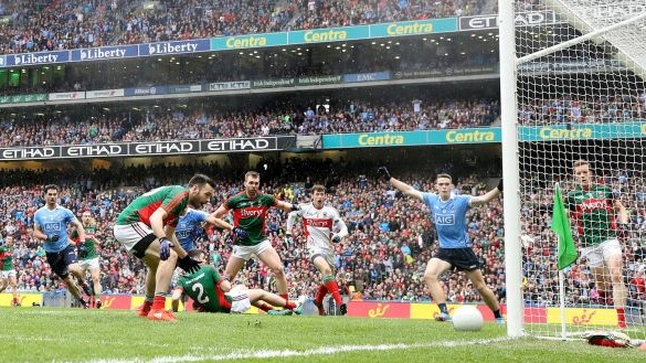 Kevin McLoughlin of Mayo scores an own goal during the 2016 All-Ireland Senior Football Championship final between Mayo and Dublin at Croke Park. Photo: Cathal Noonan/Inpho