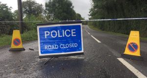 A police road block close to the scene where an explosive device was detonated at Wattle Bridge close to Newtownbutler, Co Fermanagh earlier this month. Photograph: PA