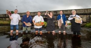 Fáilte Ireland food champions Gearoid Lynch, Niall Sabongi, Tom Flavin, Seaneen Sullivan, Anthony O'Toole and Brid Torrades launching Boxty Without Borders. Photograph: Barry Cronin