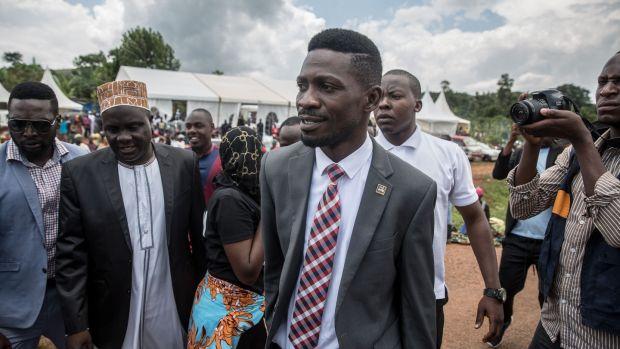 Bobi Wine leaves a campaign event in Mpigi, Uganda. Photograph: Sally Hayden.
