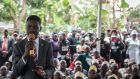Popstar and opposition leader Bobi Wine speaks at a campaign event in Mpigi, Uganda.  Photograph: Sally Hayden.