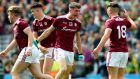 The Galway players celebrate their sesmi-final win over Kerry. Photogtaph: James Crombie/Inpho