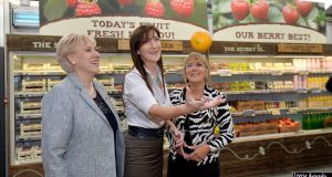 Minister for Business  Heather Humphreys; Caroline Keeling, CEO pf Keelings  and Julie Sinnamon, CEO of  Enterprise Ireland at the Keelings farm shop. Photograph: Alan Betson / The Irish Times