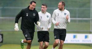 Goalkeeper David Forde, Séamus Coleman and David Meyler during an Ireland training session in 2014. Photograph: Donall Farmer/Inpho