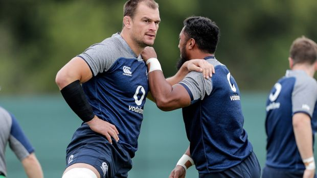 Rugby Rhys Ruddock and Bundee Aki in training. Ruddock's physicality has invariably looked tailor-made for meetings with the Springboks. Photograph: Laszlo Geczo/Inpho