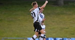 Dundalk's Daniel Cleary celebrates scoring their first goal in the SSE Airtiricity League Premier Division game against UCD at the  UCD Bowl. Photograph: Ciarán Culligan/Inpho
