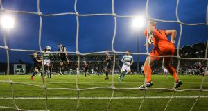 Graham Burke heads home for Shamrock Rovers past Bohemians goalkeeper James Talbot  in the SSE Airtricity League Premier Division match against Bohemians at Tallaght Stadium. Photograph: Ryan Byrne/Inpho