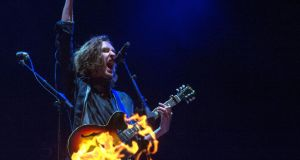 Hozier performs on the main stage at Electric Picnic on Friday. Photograph: Dave Meehan/The Irish Times