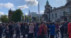 Protesters gathered at Belfast City Hall  against  Boris Johnson's decision  to suspend parliament in the run up to Brexit. Photograph: Amanda Ferguson