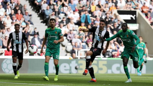 Fabian Schar equalises for Newcastle against Watford. Photograph: Ian MacNicol/Getty