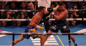 Vasily Lomachenko (L) beat Luke Campbell on points in London. Photograph: James Chance/Getty
