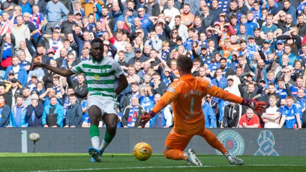 Odsonne Edouard opens the scoring for Celtic at Ibrox. Photograph: Ian Rutherford/PA