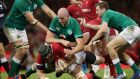 Devin Toner tackles Jake Ball in Cardiff - Ireland are hopeful he will avoid a citing for a later incident with Rob Evans. Photograph: Billy Stickland/Inpho