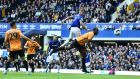 Richarlison leaps to score Everton's winner against Wolves. Photograph: Nathan Stirk/Getty