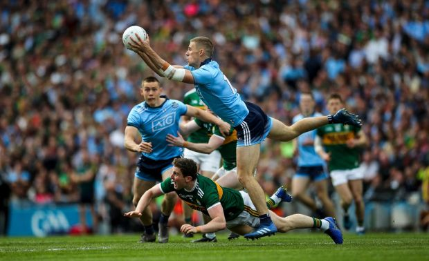Kerry's Tadhg Morley with Paul Mannion of Dublin in action. Photograph: James Crombie/Inpho