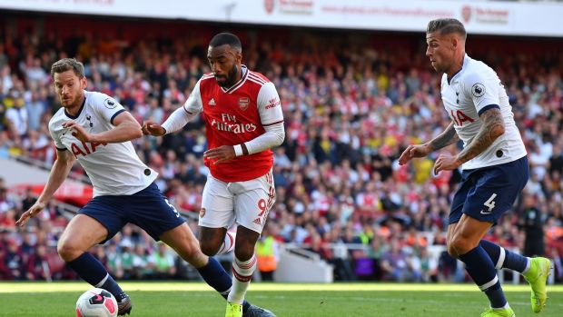Alexandre Lacazette opens the scoring in the north London derby. Photograph: Ben Stansall/AFP/Getty
