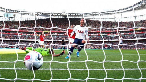Christian Eriksen opens the scoring at The Emirates. Photograph: Julian Finney/Getty