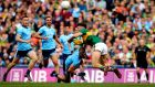 Jonny Cooper fouls David Clifford before being sent off during Dublin's All-Ireland final draw with Kerry. Photograph: Ryan Byrne/Inpho