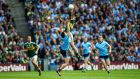 Kerry's  Jack Sherwood gets up above  Dublin's John Small during the All-Ireland Final at Croke Park. Photograph: James Crombie/Inpho