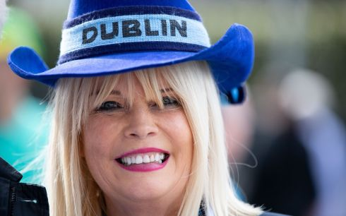 UP THE DUBS: Fine Gael Minister of State Mary Mitchell O'Connor in her Dublin colours at Croke Park during the All-Ireland final against Kerry. Photograph: Tom Honan