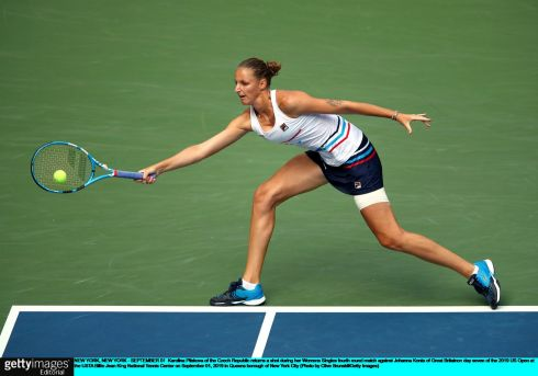 IT'S A REACH: Karolina Pliskova of the Czech Republic returns a shot during her Women's Singles fourth round match against Johanna Konta of Great Britain on day seven of the 2019 US Open at the USTA Billie Jean King National Tennis Center in the Queens borough of New York City. Photograph: Clive Brunskill/Getty