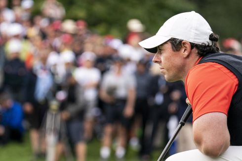 LIE OF THE LAND: Rory McIlroy of Northern Ireland during the final round of the European Masters golf tournament in Crans-Montana, Switzerland. Photograph: Alexandra Wey/EPA