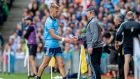 Dublin manager shakes Jonny Cooper's hand after he was shown a red card in the All-Ireland football final at Croke Park. Photograph: Morgan Treacy/Inpho