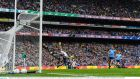 Dublin goalkeeper Stephen Cluxton saves from Paul Murphy of Kerry during the  All-Ireland senior football final  at Croke Park on Sunday. Photograph: Stephen McCarthy/Sportsfile