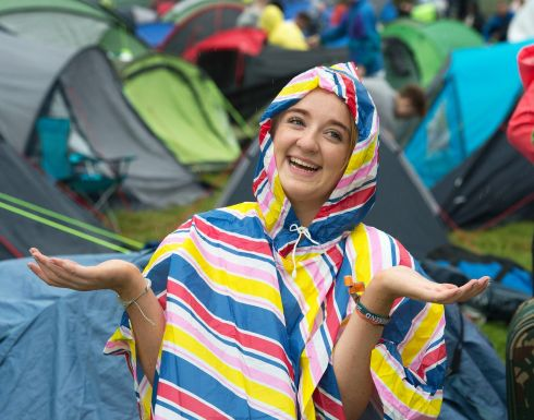 Early rain at Electric Picnic didn't dampen the spirits of Laura McClean, from Celbridge. Photograph: Dave Meehan/The Irish Times