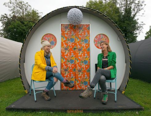 Aisling Heeran and Abigail Walker on the porch of a 'kushti cabin' tent at Electric Picnic.  Photograph: Dave Meehan/The Irish Times