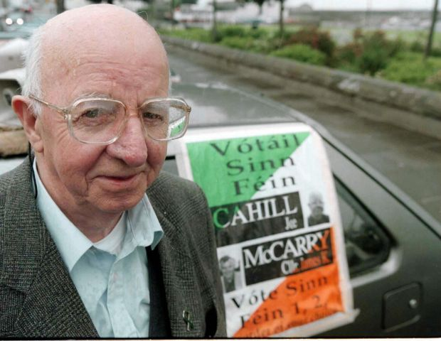 File photo from June 1998 of veteran Republican Joe Cahill. Cahill was an honorary life vice-president of Sinn Féin. This picture was taken shortly after William Hampton made his will while living in Ireland. Photograph: PA