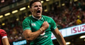 Jacob Stockdale scored a brace of tries in Ireland's RWC warm-up win over Wales in Cardiff. Photograph: Billy Stickland/Inpho