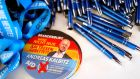 Pens and stickers bearing a portrait of Andreas Kalbitz, member the far-right AfD (Alternative for Germany). Photograph: Odd Andersen/AFP/Getty Images.