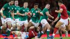 Bundee Aki on the ball during Ireland's recent win in Cardiff. Photograph: Billy Stickland/Inpho
