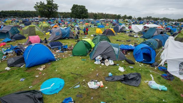 Discarded camping equipment at Electric Picnic on Monday afternoon. Photograph: Dave Meehan for the Irish Times