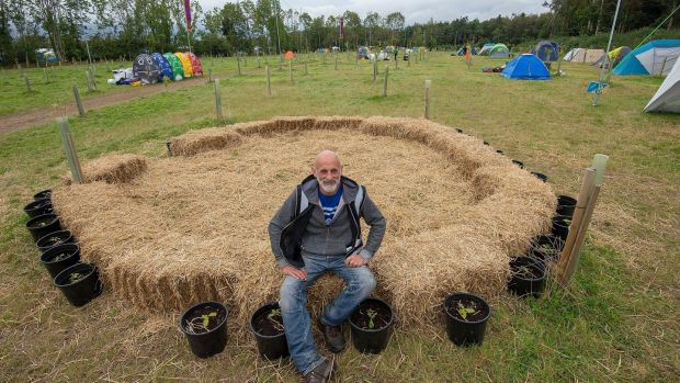 Stephen Corcoran, who runs the BYE Eco environmentally conscious campsite at Electric Picnic, which is back to its pristine state already, after nearly 2,000 people stayed there over the weekend. Photograph: Dave Meehan for The Irish Times