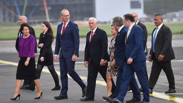 US vice-president Mike Pence arrives at Shannon Airport for the start of an official visit to Ireland. Photograph: Jacob King/PA Wire