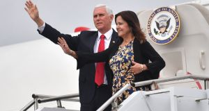 US vice-president Mike Pence and the second lady Karen Pence arrive at Shannon Airport for the start of an official visit to Ireland. Photograph: Jacob King/PA Wire