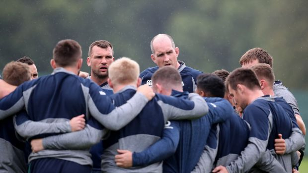 Devin Toner in the Ireland huddle during the Captain's Run ahead of the Wales game. Photograph: Dan Sheridan/Inpho