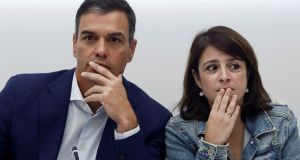 The Spanish acting prime minister and secretary general of the Socialist Party, Pedro Sanchez, with deputy secretary general Adriana Lastra, in Madrid, on Monday. Photograph: Mariscal/EPA