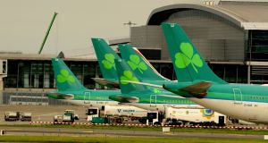 Aer Lingus aircraft at Dublin Airport. Under EU legislation, flights can be restricted only where other measures to ease aircraft noise will not work. Photograph: Cyril Byrne